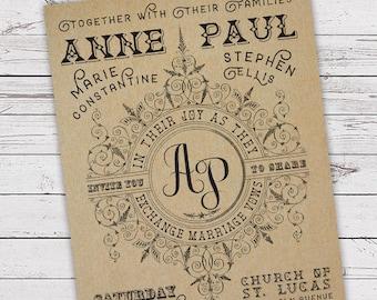 Printable Wedding Invitation Set - Invite, RSVP Card, Info Card - Ornate Frame