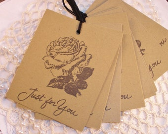 Just For You Vintage Inspired Rose Tags Set of 8