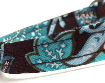 Brown Blue Paisley Cat Collar- LIMITED QUANTITY