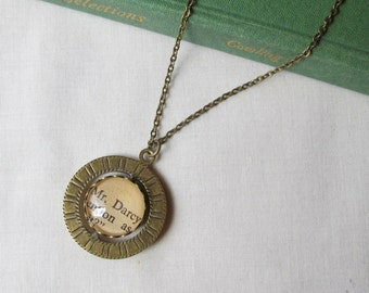 Jane Austen Spinner Necklace Mr Darcy Pride and Prejudice Upcycled Brass Literature Two Cheeky Monkeys Jewellery Jewelry Personalized