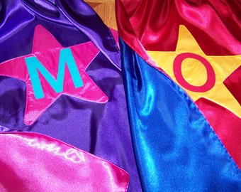 Star Superhero Cape Custom Super Hero Star Kids Cape Reversible in Washable Satin Personalized with Name or Initial
