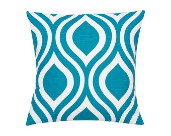 BLUE TEAL Pillow Cover.Decorator Pillow Cover.Home Decor.Large Print.EMILY.Slipcover. Cushion.Pillow. Premier Prints