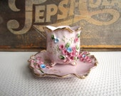 Vintage Norcrest Footed Pink Petal  Cup and Plate