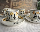 Vintage Black and Golden Yellow Adderleys England Demitasse Cups and Saucers Set of 4