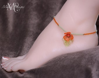 Lucite Flower and Leaf Beaded Anklet