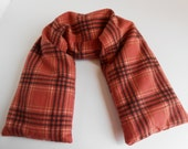 Salmon Plaid - Microwave Heat Therapy Neck Wrap- Unique Gift for Dad, Grandpa Helpful with Joint Pain and Headaches 23x5 Wrap around size