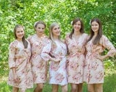 Blush Bridesmaids Robe Sets Kimono Crossover Robe. Bridesmaids gifts. Getting ready robes. Bridal Party Robes. Floral Robes