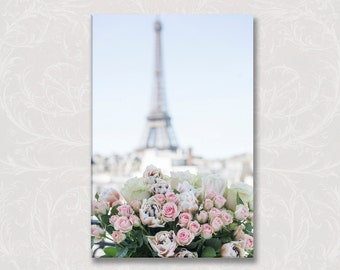 Paris Photo on Canvas, A Paris Balcony, Eiffel Tower, Roses, Gallery Wrapped Canvas, Large Wall Art, French Travel Home Decor