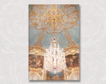 Paris Chandelier Photograph on Canvas, Chambre de Princess Soubise, Golden Chandelier, French Home Decor, Large Wall Art