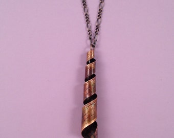 Torched Copper Spiral Pendant Necklace