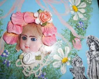 Doll Box Grandma's Attic Upcycled Wood Box Gift Box Antique Doll Decoupage Box