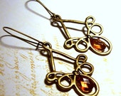 Antique Brass Loops Chandelier Earrings with Peach Accents