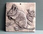 Mouse 4x4 ceramic porcelain relief animal tile