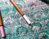 Green with Envy - Hand marbled vintage sheet music