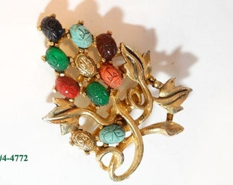FREE SHIP Scarab Brooch Multi-Color Scarabs (4-4772)