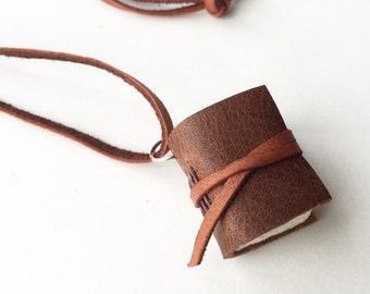 Tiny Leather Book Necklace in Brown -Muir- Sketchbook Necklace Mini Journal Pendant Book Jewelry Gifts for Her Gifts Under 25 Anniversary