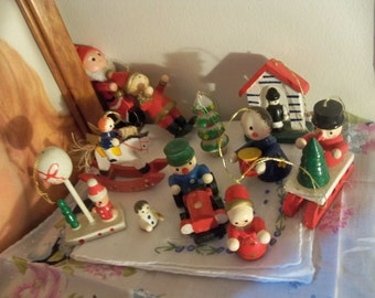 miniature wooden Christmas ornaments
