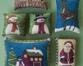 Set of 6 Christmas Snowman Santa Ornies Tucks Bowl Fillers Potpourri Bowl Gift Pillows Stocking Stuffer