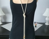 Crystal Ice Flapper Beaded Rope with Fringe...Lariat...Belt...Clay Beads