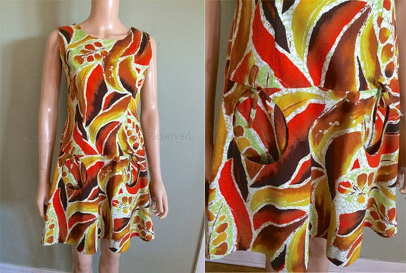 1960s Hawaiian Mini Mod Tiki Dress with Unique Circle Pockets Made in Hawaii-S