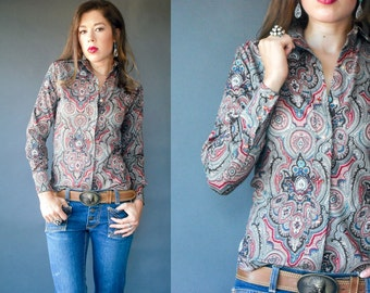 SALE...Vintage 70's Panhandle Slim Western PAISLEY Blouse / Preppy Oxford Button Down Shirt / Long Sleeve