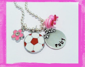 SOCCER Necklace -Personalized Purple Soccer Ball  for Girls - Custom Jewelry #S70