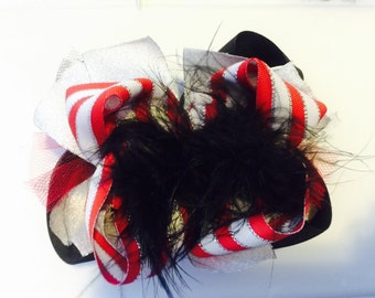 Red and Black Over the Top Hairbow