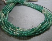 Shaded Green Onyx micro faceted rondelles, 3.25mm. FULL strand (11m11)