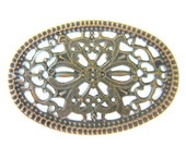 10 Antique copper stamped filigree jewelry findings oval medallion victorian style openwork lace 55mm x 48mm  0117R