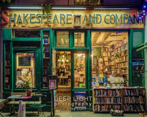 Photo of Shakespeare and Company Bookstore, Paris Photograph, Paris Bookshop, Gifts For Readers, Green Amber par9