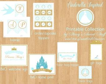 Cinderella Inspired Birthday Party Package, DIY, PRINTABLE (Choose 4)