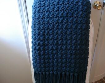 Wool-Blend Muted Dark Blue Afghan Throw Blanket