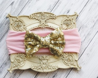 Gold Floppy Bow, Pink/Gold Sequin Bow, Baby Head Wrap, Pink Messy Bow,Baby Silver Bow, Sparkle Bow Headband, Glitter Bow, Glitter Headband