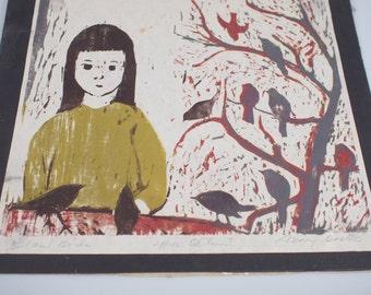 "Vintage Silkscreen ""Girl with Birds"" by Mary Goslen"