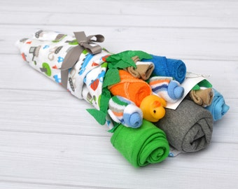 Baby Boy Gift Set, Boy Clothing Baby Bouquet, Baby Shower Gift, Flowers For Pregnant Mom, Unique Baby Gift, Flower Bouquet