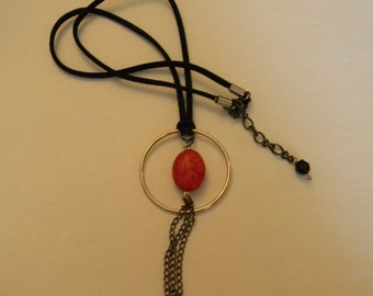 Black Cord Necklace Handmade:Geometric Silver Pendant Necklace-Red Silver Black Turquoise Necklace-Free Shipping-Modern Gemstone Necklace