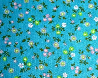 Vintage Fabric - Petite Flowers on Aqua Broadcloth - 36 x 40