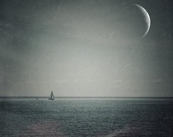 crescent moon photo, surreal landscape photo, lake photo, home decor, sailboat photo, night sky, texture, navy, blue, Ontario, boat, sailing