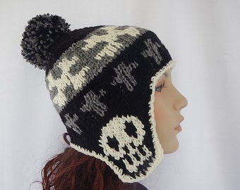Skulls cross bone ear flap beanie with Pom pom