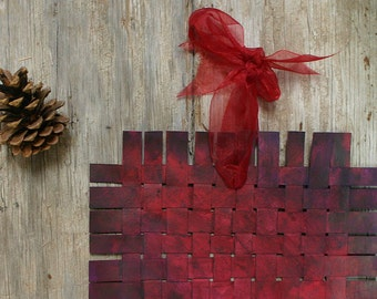 Red Purple Paper Weaving- Original Acrylic Art- Woven- Paper Art- Two Sided- Art Mobile- Hang or Frame- 10x10- Wall Weave