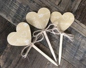 Rustic Heart Cupcake Toppers Kraft Hearts
