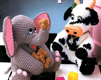 Crochet Animal Doorstops Plastic Gallon Milk Jug Covers Elephant Cow Rabbit Cat Teddy Bear Craft Pattern Leaflet Annie's Attic 879605