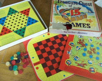 Treasures Chest of Vintage Games Game Pieces Game Boards