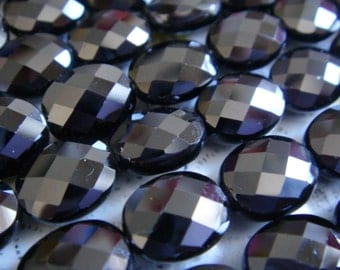 """7. Black Spinel 8x10mm Faceted Oval Shape 16"""" Inches Strand 39 pcs Stone Bead"""