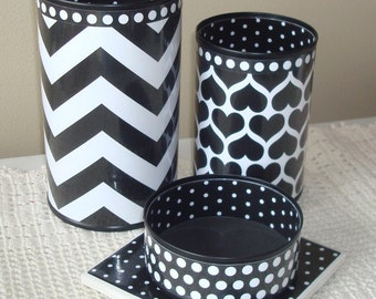 Black and White Chevron Hearts and Dots Desk Accessories and Coaster / Pencil Holder / Pencil Cup / Desk Organizer / Office Decor - 678