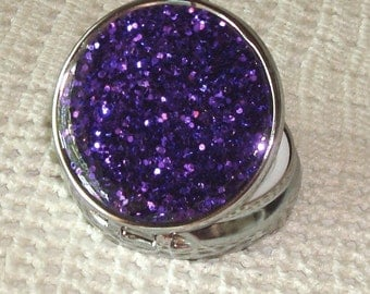Purple Glitter Pill Tin, Bling Pill Box, Sparkly Pill Container, Gift for Woman, Stocking Stuffer, Silver Tone Pill Case,Round Pill Box 007V