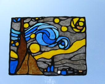 Starry Night Stained Glass Cling
