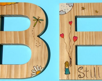 Pyrography wood sign - Be Still