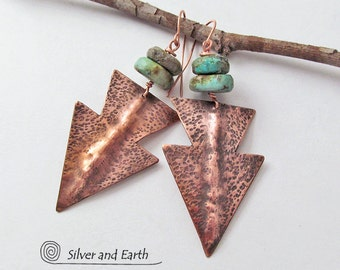 Arrowhead Earrings, Turquoise Copper Earrings, Handmade Metalsmith Jewelry, Southwest Tribal Earrings, Santa Fe Style, Southwestern Jewelry