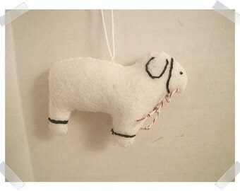 Sheep Ornament/Made of Felt/ Handmade/Single OR Set of 2/MADE to Order**